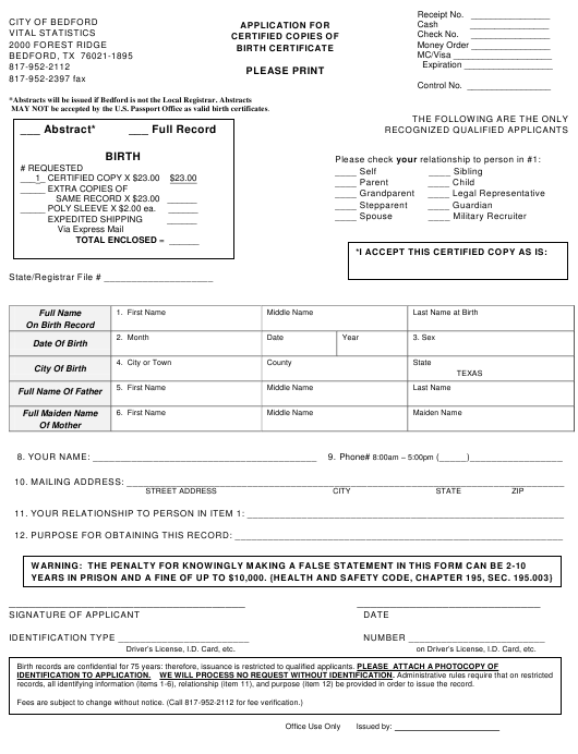 Application Form for Certified Copies of Birth Certificate - CIty of Bedford, Texas Download Pdf