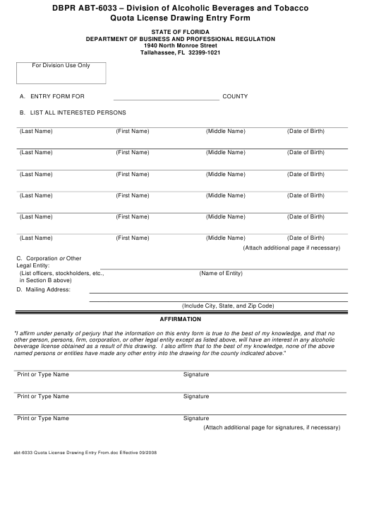 Form ABT-6033 Printable Pdf
