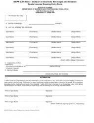 Form ABT-6033 Quota License Drawing Entry Form - Florida