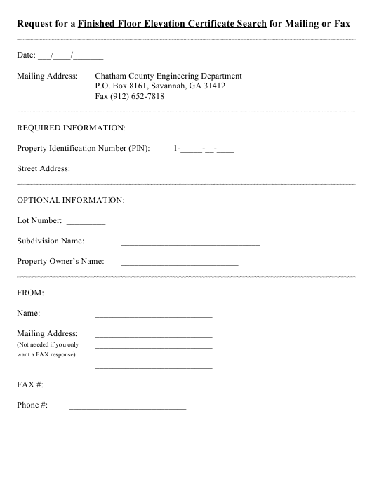 """""""Request for a Finished Floor Elevation Certificate Search for Mailing or Fax Form"""" - Georgia (United States) Download Pdf"""