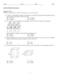 """""""Math Assessment Worksheet - 2nd Grade"""""""