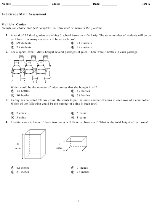 Math Assessment Worksheet - 2nd Grade Download Pdf