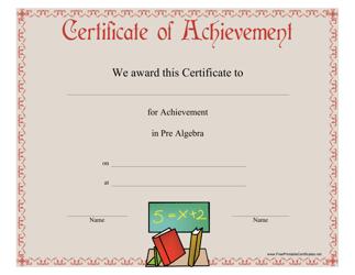 """""""Pre-algebra Achievement Certificate Template"""""""