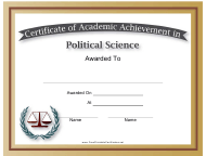 """Political Science Academic Certificate Template"""