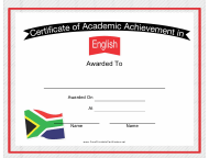 """English Language Certificate of Achievement Template"""