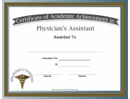 """Physician Assistant Academic Achievement Certificate Template"""