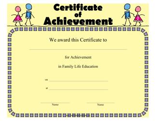 """Family Life Education Achievement Certificate Template"""