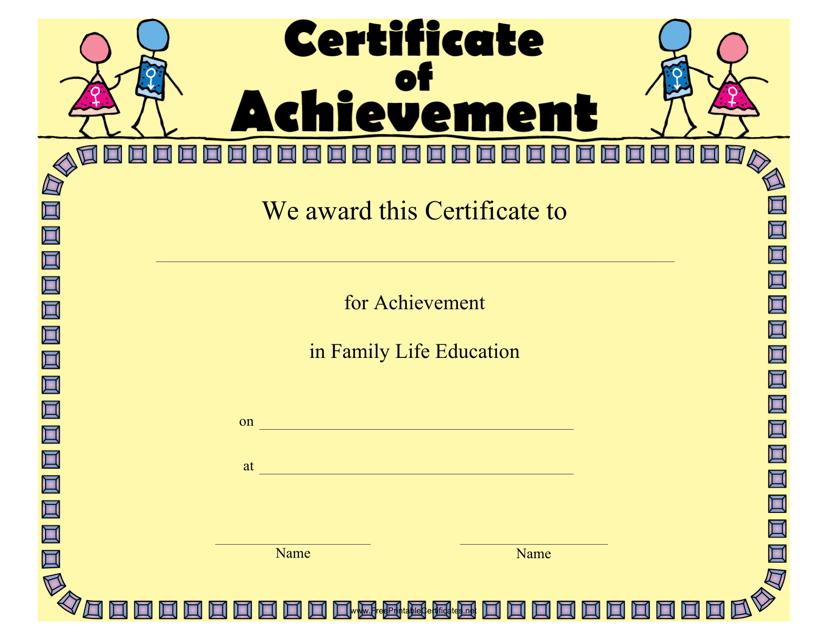 """Family Life Education Achievement Certificate Template"" Download Pdf"