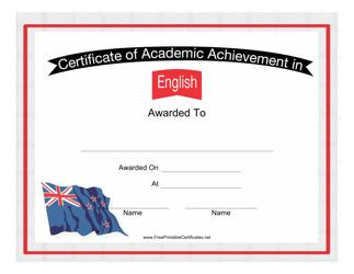 """English Language Achievement Certificate Template"""