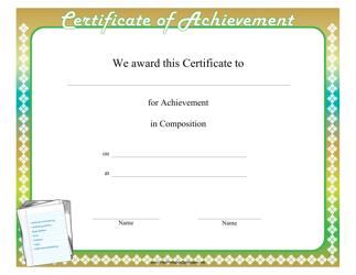 """Composition Achievement Certificate Template"""