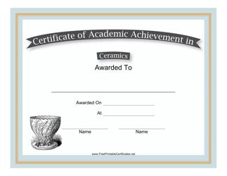 """Ceramics Academic Achievement Certificate Template"""