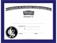 """Philosophy Academic Achievement Certificate Template"""