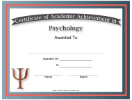 """Psychology Academic Achievement Certificate Template"""