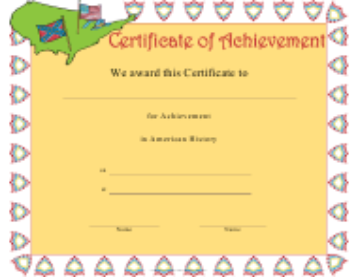 """American History Achievement Certificate Template"""