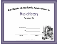 """Music History Academic Achievement Certificate Template"""