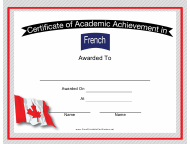 """French Language Achievement Certificate Template"""