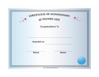 """25 Pounds Weight Loss Achievement Certificate Template"""
