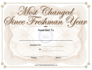 """""""Most Changed Since Freshman Year Yearbook Certificate Template"""""""