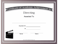 """Directing Academic Achievement Certificate Template"""