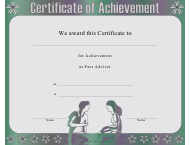 """Peer Advisor Achievement Certificate Template"""