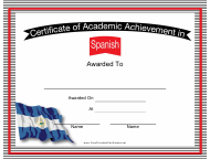 """Spanish Language Certificate of Achievement Template"""