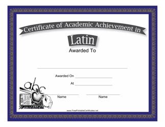 """Latin Academic Achievement Certificate Template"""