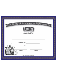Latin Academic Achievement Certificate Template