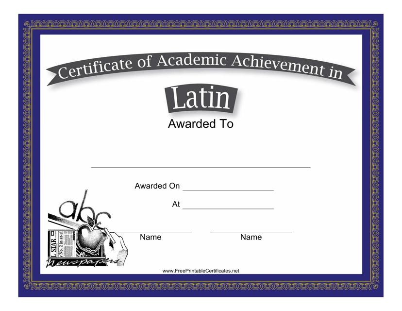 Latin Academic Achievement Certificate Template Download Printable