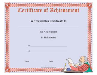 """Shakespeare Achievement Certificate Template"""
