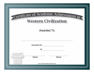 """""""Western Civilization Academic Achievement Certificate Template"""""""
