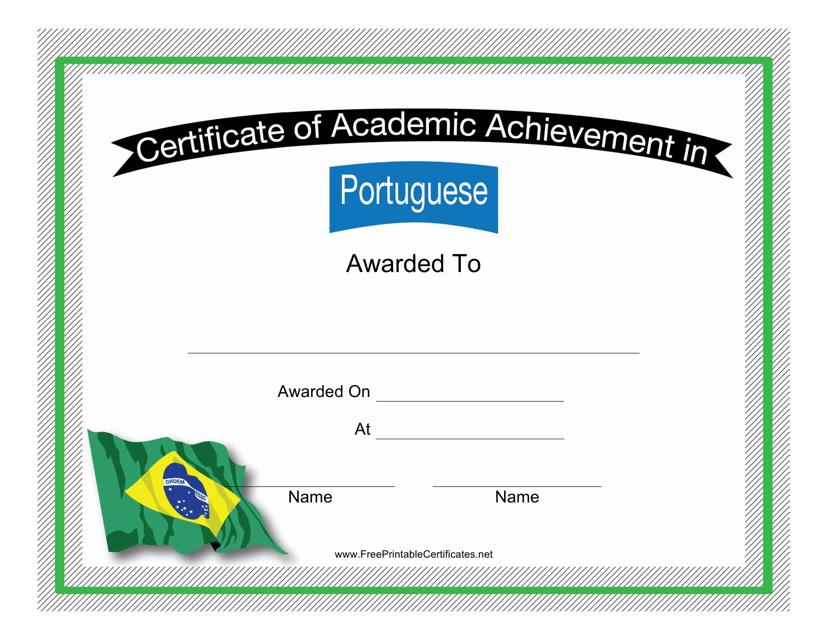 """Portuguese Language Certificate of Achievement Template"" Download Pdf"