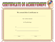 """Psychology Achievement Certificate Template"""