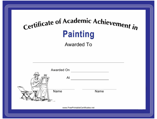 painting academic achievement certificate template download
