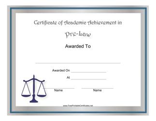 """Pre-law Academic Achievement Certificate Template"""