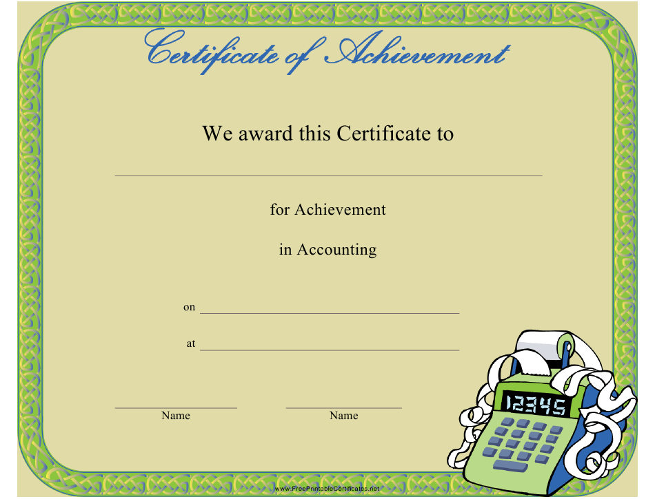 certificate template achievement accounting pdf templateroller printable