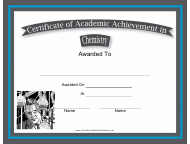 """Chemistry Academic Achievement Certificate Template"""