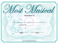 """""""Most Musical Yearbook Certificate Template"""""""