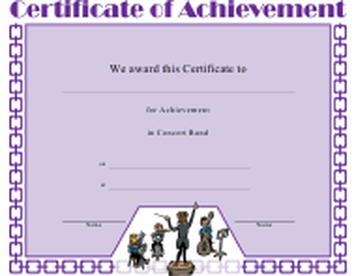"""Concert Band Achievement Certificate Template"""