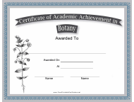 """Botany Academic Achievement Certificate Template"""