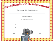 """Video Production Achievement Certificate Template"""