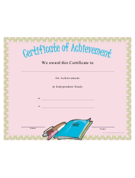 Independent Study Achievement Certificate Template