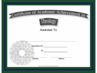 """Theology Academic Achievement Certificate Template"""