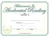 """Achievement in Accelerated Reading Certificate Template"""