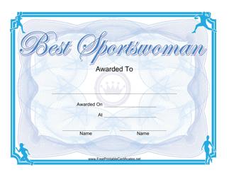 """""""Best Sportswoman Certificate Template"""""""