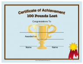 """100 Pounds Weight Loss Achievement Certificate Template"""