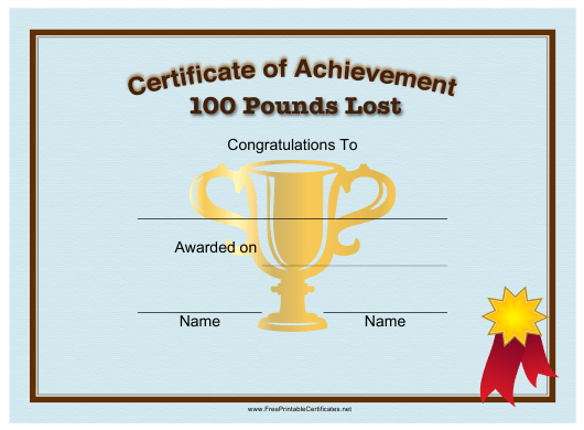 """""""100 Pounds Weight Loss Achievement Certificate Template"""" Download Pdf"""