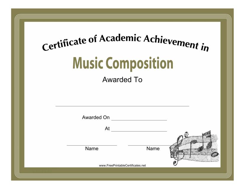 Music Composition Academic Achievement Certificate Template Download