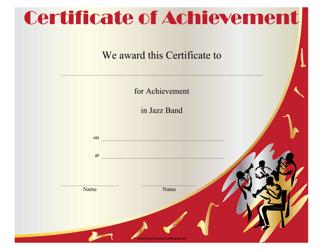 """Jazz Band Achievement Certificate Template"""