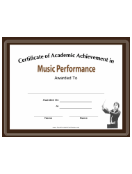 music performance academic achievement certificate template