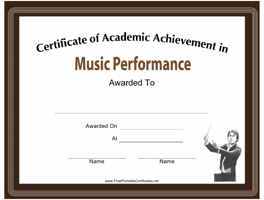 Music Performance Academic Achievement Certificate Template Download ...